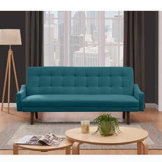 Handy Living Ophir Click Clack Turquoise Blue Velvet Futon Sleeper Sofa