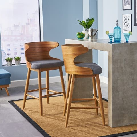 Kamryn Mid-century Modern Upholstered Bar Stools (Set of 2) by Christopher Knight Home