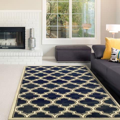 Superior Designer Bohemian Trellis Blue Area Rug (8' x 10') - 8' x 10'