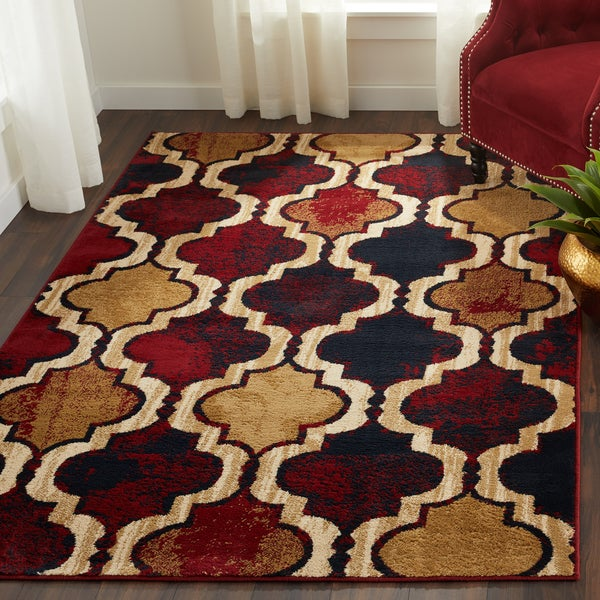 Superior Designer Viking Red Blue Area Rug - 4' x 6'