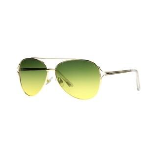 Angel Eyewear Byefelicia Womens Shiny Gold Frame Green to Yellow Gradient Polarized Lens Sunglasses