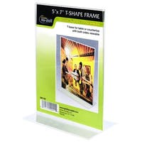 """5"""" x 7"""" Table Top Double Sided T-Base Freestanding Sign Display Frame, Clear"""