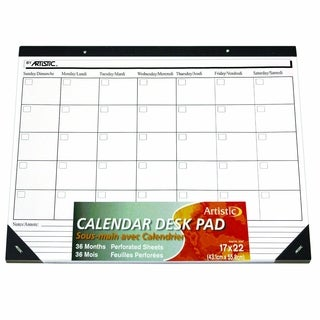 """17"""" x 22"""" Undated Calendar Paper Desk Pad, White Paper"""