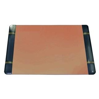 "19"" x 24"" Classic Blotter Desk Pad w/ Side Panels, Black w/ Gold"