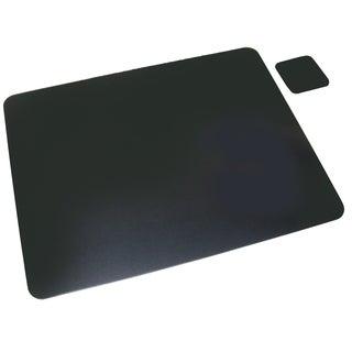 "12"" x 19"" Leather Desk Pad w/ Coaster, Black"