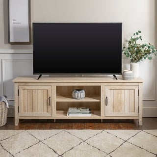 70-Inch Modern Farmhouse Console with Side Beadboard Doors