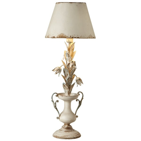 Distressed Ivory Flower with Urn Table Lamp.