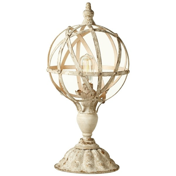 Distressed White Sphere on Stand Table Lamp.