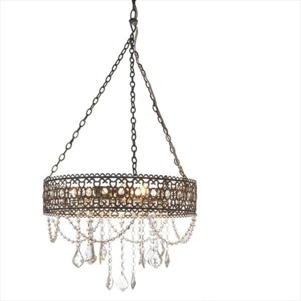 Greywash Hanging Filigree 3-Light Chandelier.