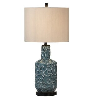 Raised Dot Swirl Ceramic Table Lamp.