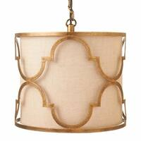 Metal Geometric Pendant with Linen Shade.