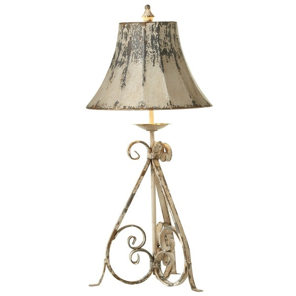 Distressed Ivory & Blue Scroll Base Table Lamp.