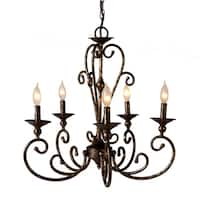 Antique Gold Scroll Chandelier.