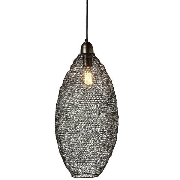 Gunmetal Hand Woven Tall Wire Oval Pendant.