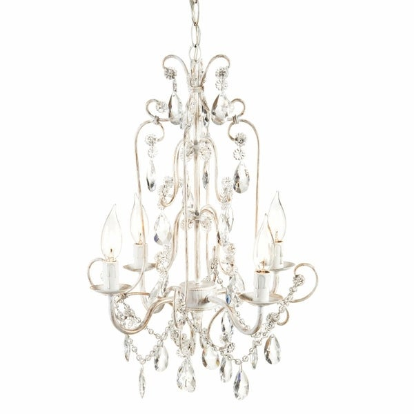 Antique White and Gold Four Arm Beaded Chandelier.