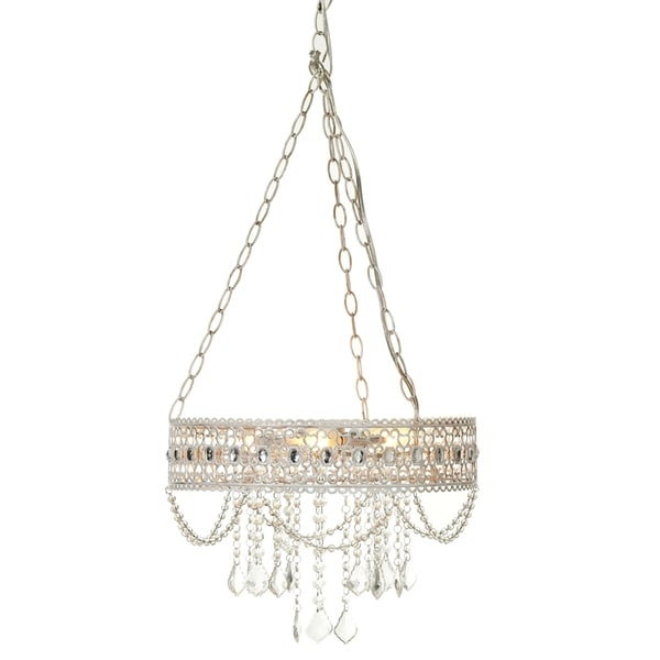 White with Gold Brush Hanging Filigree 3-Light Chandelier.
