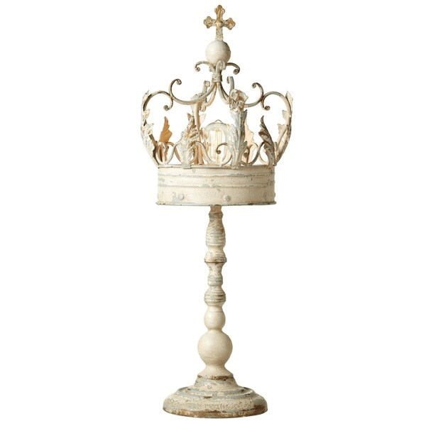 Distressed White Crown Table Lamp on Stand.