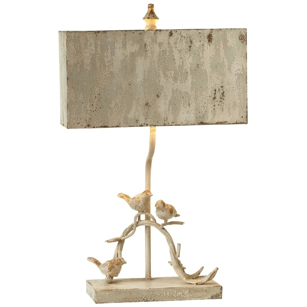 Distressed White Bird on Branch Table Lamp.