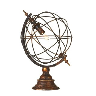 Distressed Black & Gold Sphere Table Lamp.