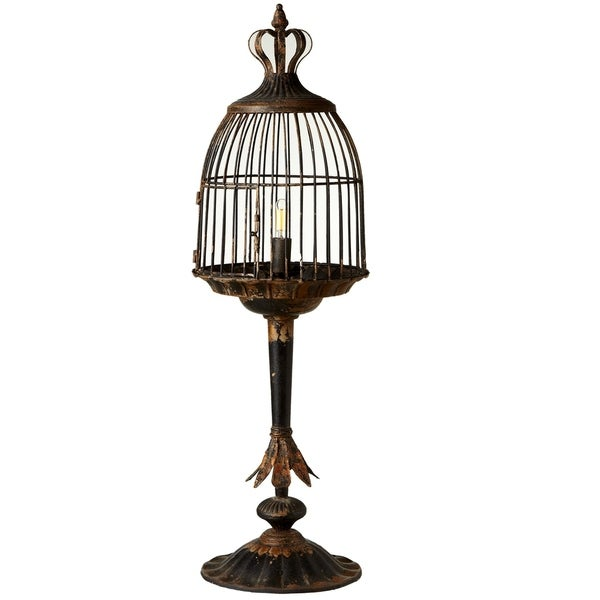 Distressed Black Bird Cage Table Lamp. 60W Max.