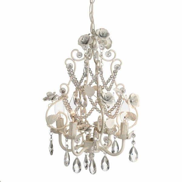Large White Rose Beaded Chandelier.