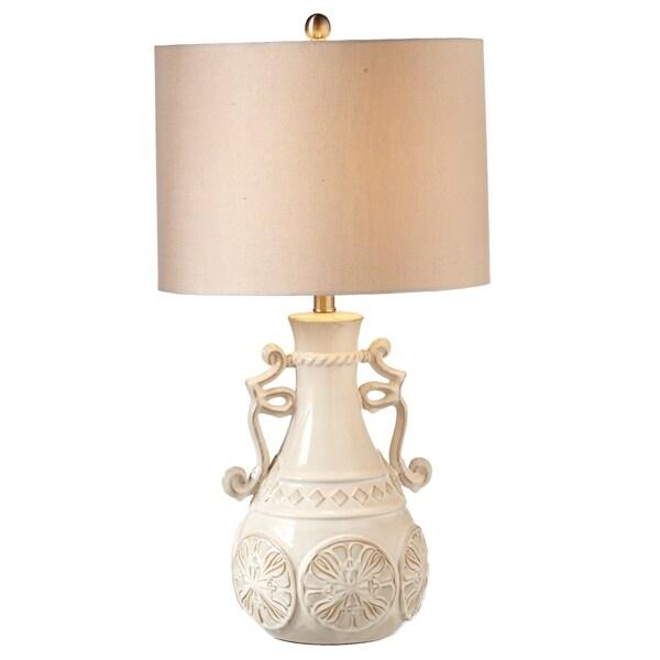 Ivory Ceramic Round Urn Table Lamp.