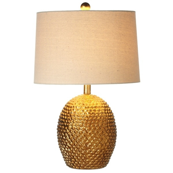Antique Gold Pinecone Table Lamp.