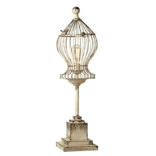Distressed White Curved Bird Cage Table Lamp.