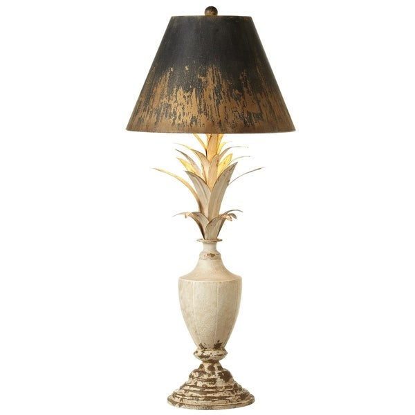 Distressed White Urn & Leaf Table Lamp.