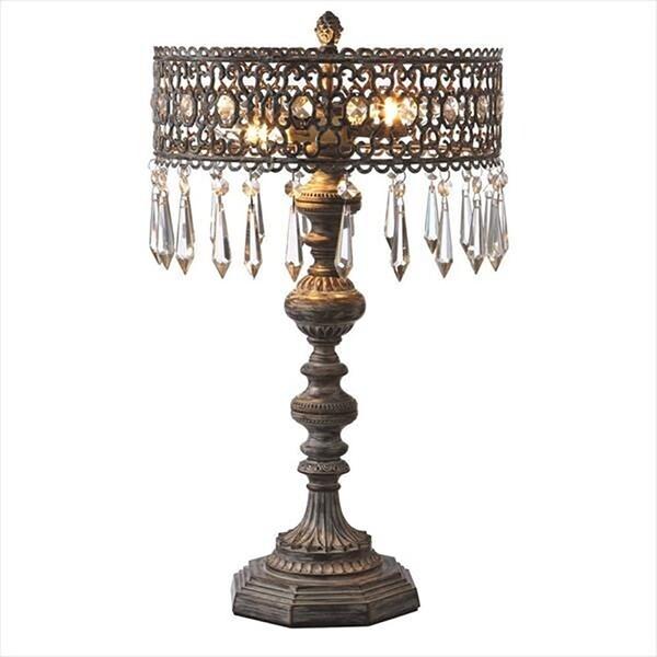 Greywash Filigree Beaded 2-Light Table Lamp.
