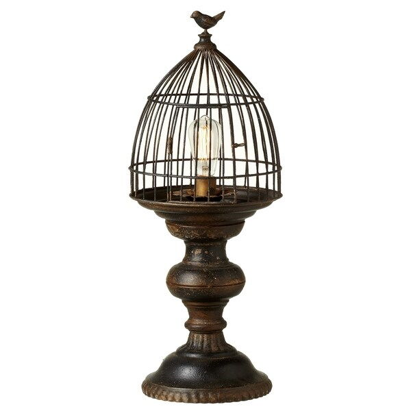 Distressed Black Bird Cage Table Lamp.