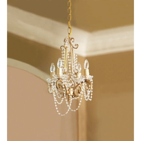Gold Hanging Chandelier with Clear Beads.