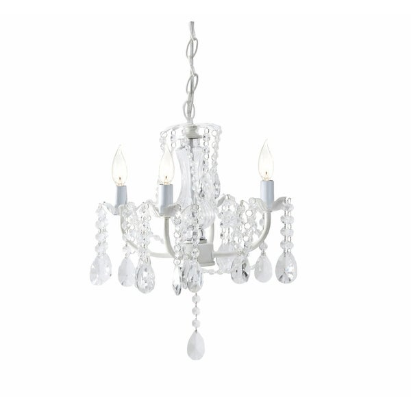 White Four Arm Beaded Chandelier.