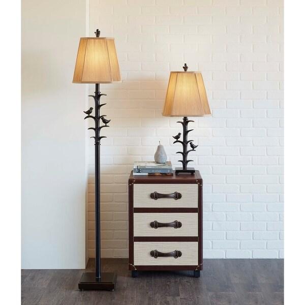 Bronzed Bird on Branch Floor Lamp.
