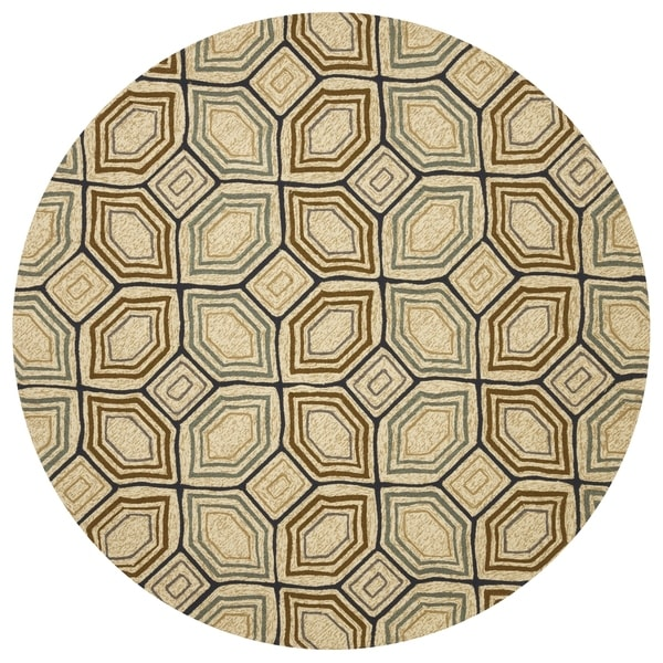 Indoor/ Outdoor Hand-hooked Taupe/ Blue Geometric Round Rug - 7'10