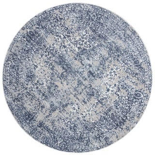 "Distressed Transitional Blue/ Grey Floral Vintage Round Rug - 5'3"" x 5'3"" Round"