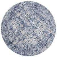 Distressed Transitional Blue/ Grey Floral Vintage Round Rug - 5'3