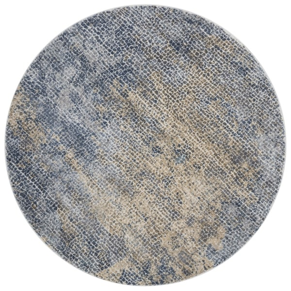Distressed Transitional Blue/ Gold Pebble Mosaic Round Rug - 5'3