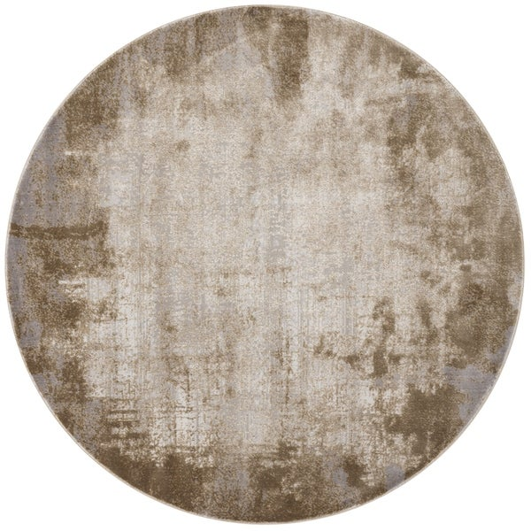 Distressed Abstract Taupe/ Grey Textured Vintage Round Rug - 5'3