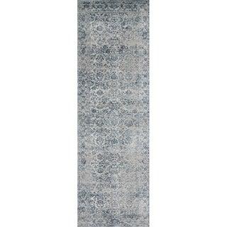 """Distressed Transitional Light Blue/ Grey Vintage Damask Runner Rug - 2'7"""" x 12' Runner"""