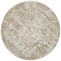 Distressed Transitional Gold/ Grey Floral Vintage Round Rug - 5'3