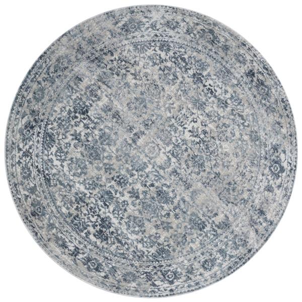 Distressed Transitional Light Blue/ Grey Vintage Damask Round Rug - 5'3