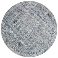 Distressed Transitional Light Blue/ Grey Vintage Damask Round Rug - 5'3