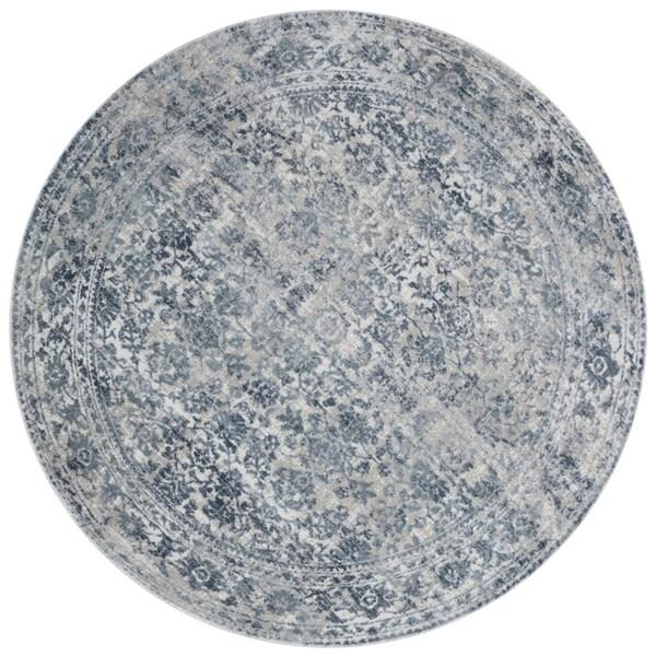 Distressed Transitional Light Blue/ Grey Vintage Damask Round Rug - 7'10