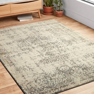 "Antique Inspired Vintage Ivory/ Grey Distressed Runner Rug - 2'8"" x 10'6"" Runner"