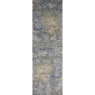 "Distressed Transitional Blue/ Gold Pebble Mosaic Runner Rug - 2'7"" x 12' Runner"