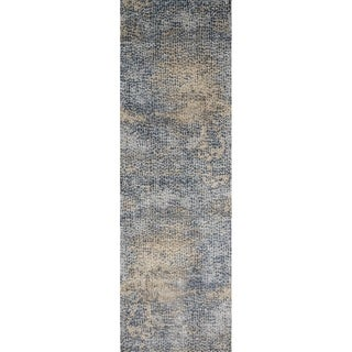 Distressed Transitional Blue/ Gold Pebble Mosaic Runner Rug - 2'7 x 12'