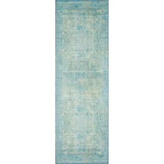 "Alexander Home Traditional Distressed Aqua Blue Printed Runner Rug - 2'6"" x 7'6"" Runner"