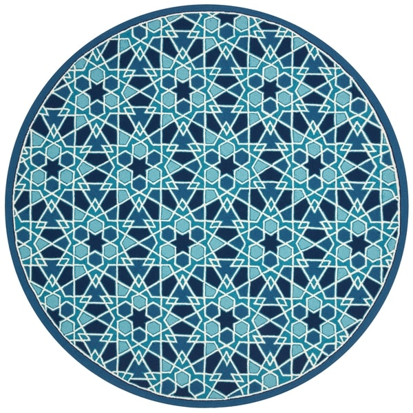 """Indoor/ Outdoor Hand-hooked Blue Geometric Mosaic Round Rug - 7'10"""" x 7'10"""""""