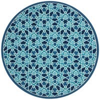 "Indoor/ Outdoor Hand-hooked Blue Geometric Mosaic Round Rug - 7'10"" x 7'10"""